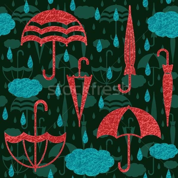 Stock fotó: Esernyők · felhők · esőcseppek · vektor · végtelen · minta · dekoratív