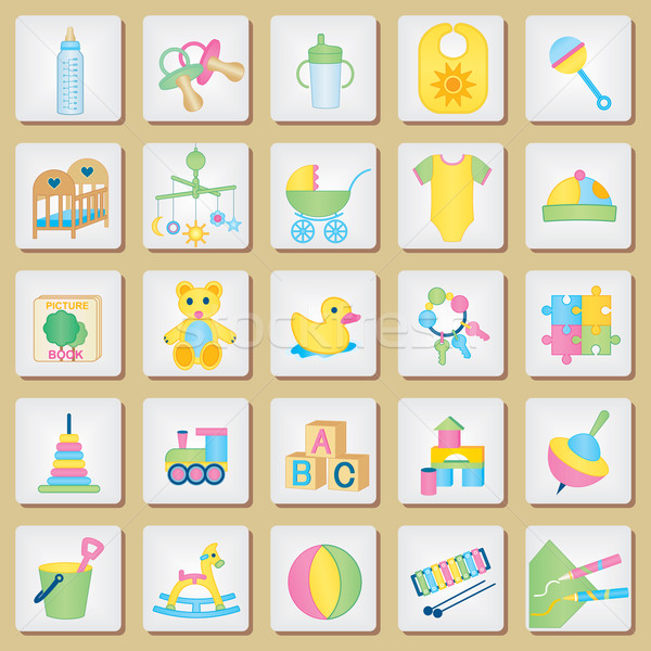 Stock photo: kids related icons 1