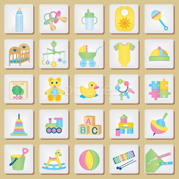 Foto stock: Crianças · ícones · bebê · pastel · cores