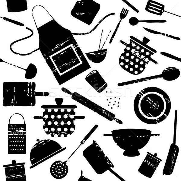 Seamless pattern with scratched cooking related silhouettes 1 Stock photo © sanjanovakovic