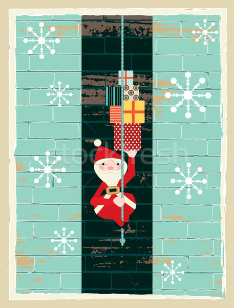 Retro vector illustration of Santa Claus coming down the chimney carrying  presents  Stock photo © sanjanovakovic