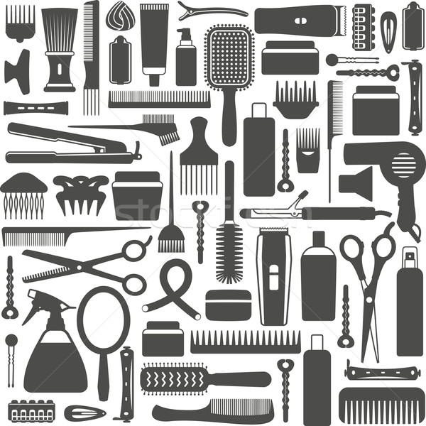 волос вектора фон инструменты силуэта Сток-фото © sanjanovakovic