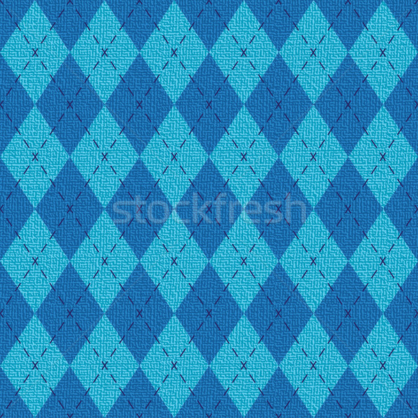 Blue textured argyle pattern inspired vector background