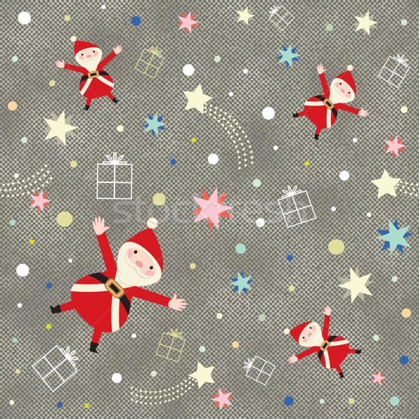 Christmas themed pattern on jeans textured background Stock photo © sanjanovakovic
