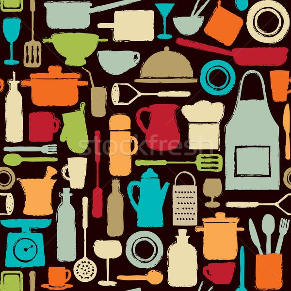Renkli mutfak siluet simgeler gıda Stok fotoğraf © sanjanovakovic