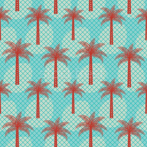 Palm tree inspired retro vector seamless pattern background Stock photo © sanjanovakovic