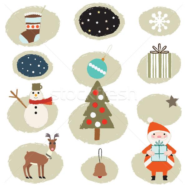 Retro Noel semboller mutlu çocuklar Stok fotoğraf © sanjanovakovic