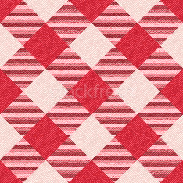 Red textured diagonal gingham inspired pattern background 3 Stock photo © sanjanovakovic