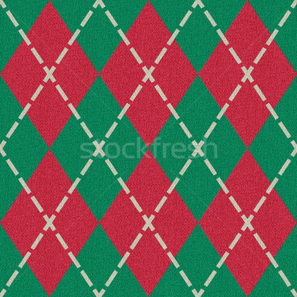 Red and green argyle pattern inspired textured vector background Stock photo © sanjanovakovic