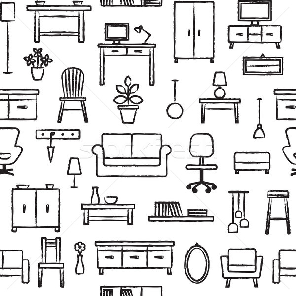 Stock photo: Vector seamless pattern background with hand drawn home furniture outline icons 5