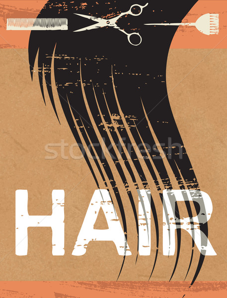 Cheveux affiche papier vintage mode imprimer Photo stock © sanjanovakovic