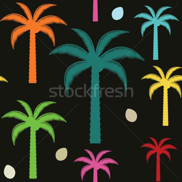 Colorful palm trees inspired vector seamless pattern background Stock photo © sanjanovakovic