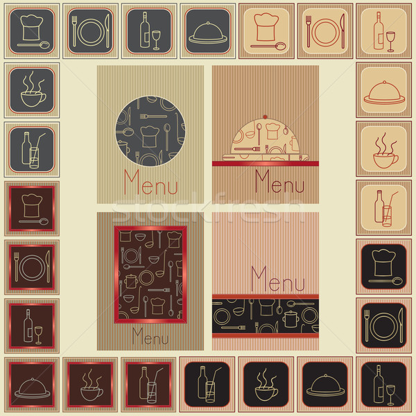 Menu covers and matching restaurant food and drink signs Stock photo © sanjanovakovic