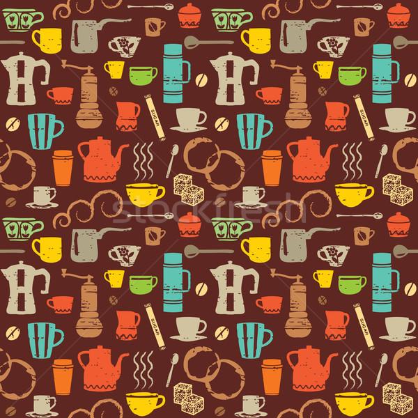 Renkli Retro kahve semboller arka plan Stok fotoğraf © sanjanovakovic