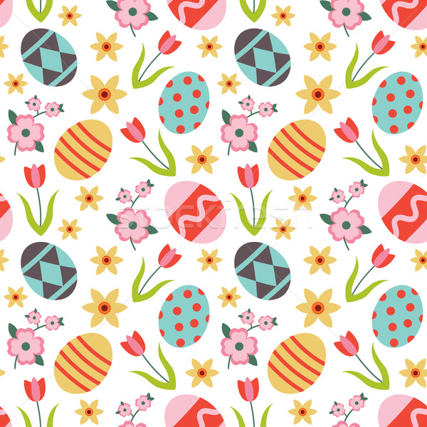 Renkli vektör paskalya yumurtası çiçekler Paskalya Stok fotoğraf © sanjanovakovic