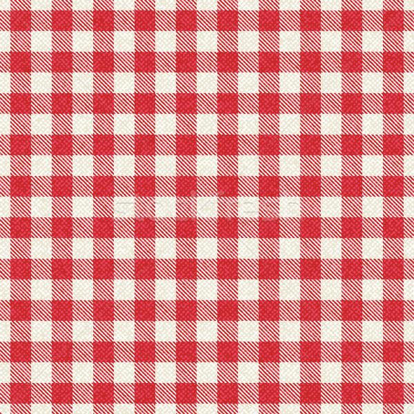Red and white textured plaid gingham tablecloth Stock photo © sanjanovakovic