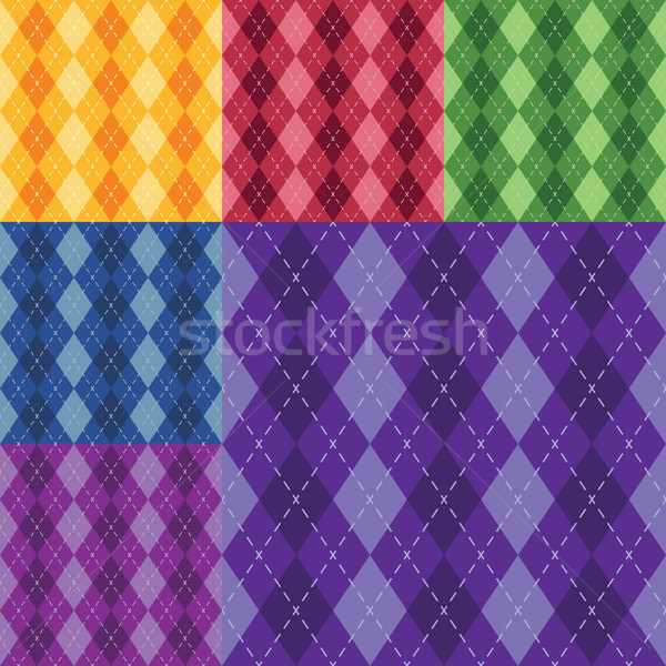 Vector argyle seamless pattern in six different colors. 