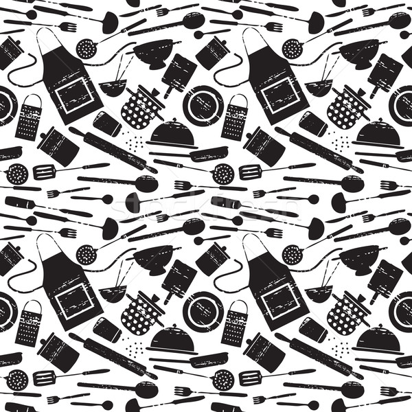 Seamless pattern with scratched cooking related silhouettes 2 Stock photo © sanjanovakovic