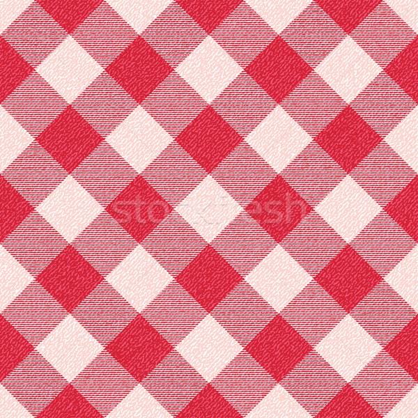 Red and white textured diagonal gingham pattern background 1 Stock photo © sanjanovakovic