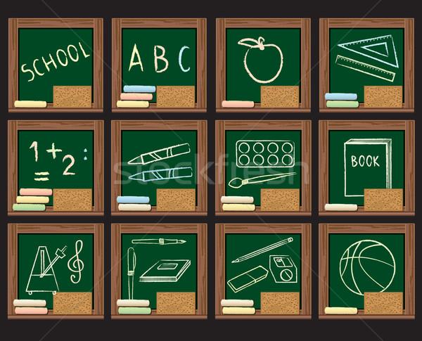 Oniki okul simgeler yeşil kara tahta ahşap çerçeve Stok fotoğraf © sanjanovakovic
