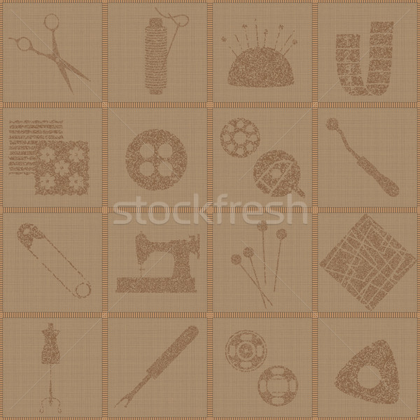 Tiled seamless pattern with sewing and tailoring symbols on canvas textured  background 1  Stock photo © sanjanovakovic
