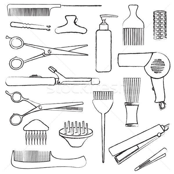 Hand drawn hairdressing related symbols Stock photo © sanjanovakovic