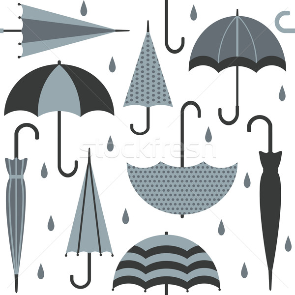 Vector seamless pattern with umbrellas and raindrops Stock photo © sanjanovakovic