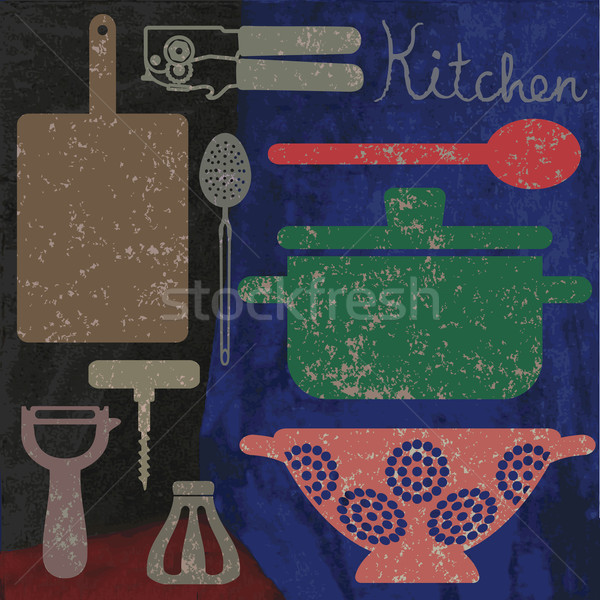 Artistic vintage cooking related poster 1 Stock photo © sanjanovakovic
