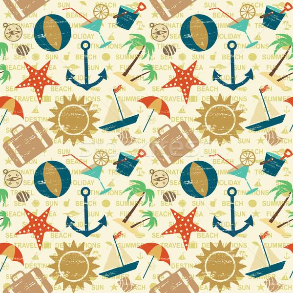 Summer and sea related seamless pattern Stock photo © sanjanovakovic