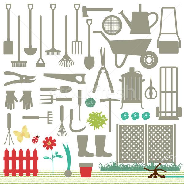 Stock photo: Gardening related icons 6