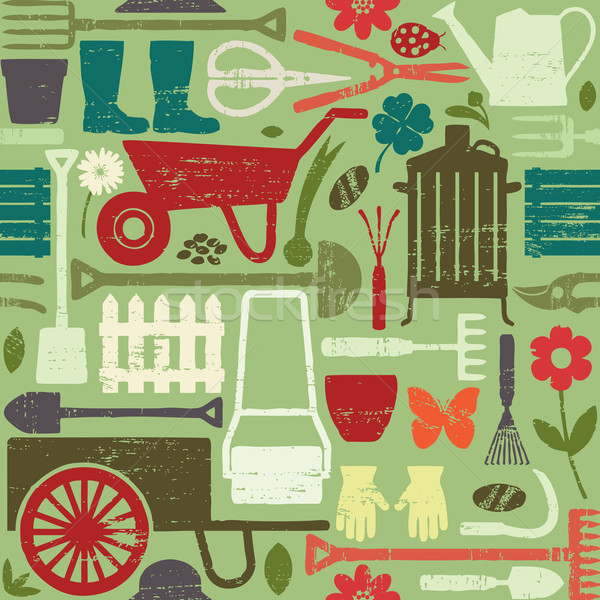 Retro gardening related seamless pattern background  Stock photo © sanjanovakovic