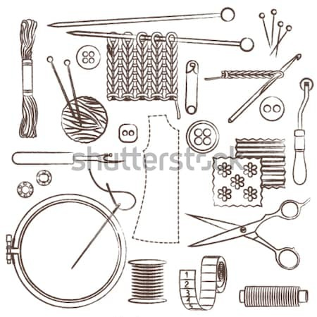 Sewing symbols set 1 – Scissors, Fabric and Tailors Chalk Stock photo © sanjanovakovic
