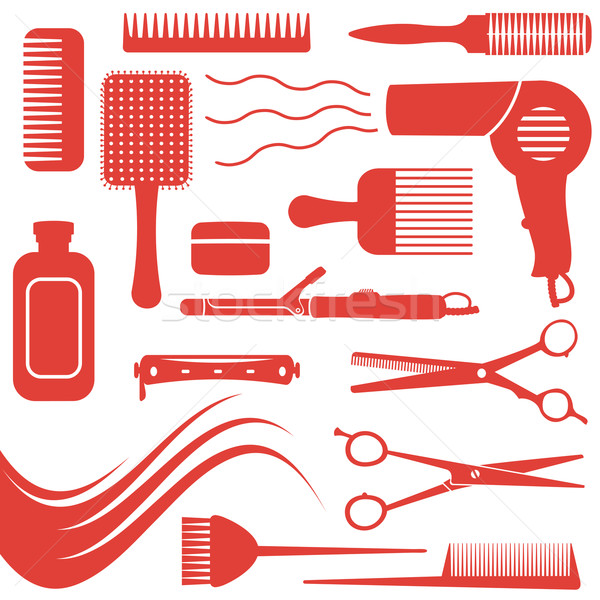Hairdressing related symbols 2 Stock photo © sanjanovakovic