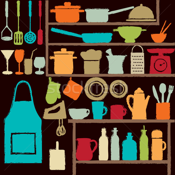 Stock photo: Colorful kitchen silhouette icons