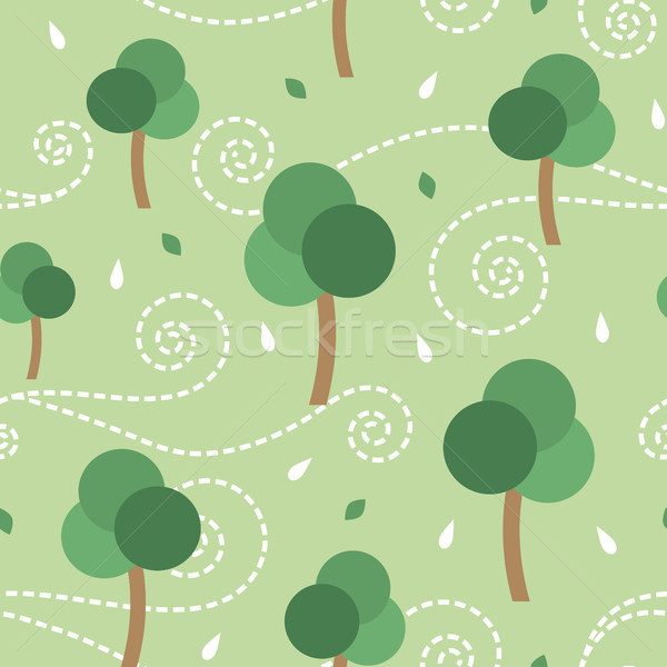 Trees and the storm vector seamless pattern background Stock photo © sanjanovakovic