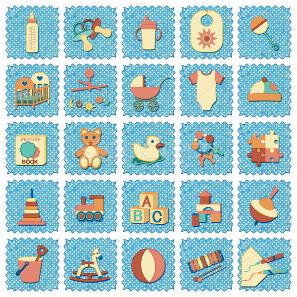 retro kids related icons on jeans textured background Stock photo © sanjanovakovic