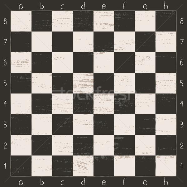 Bağbozumu siyah beyaz satranç tahtası harfler sayılar Stok fotoğraf © sanjanovakovic