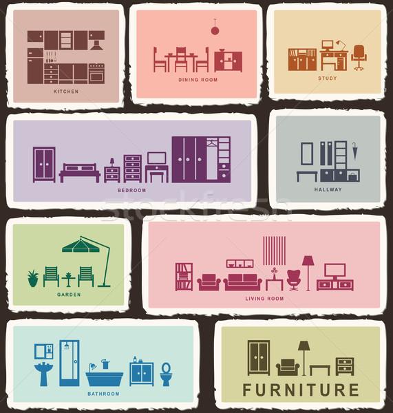 Furniture icons with tattered edge 2 Stock photo © sanjanovakovic