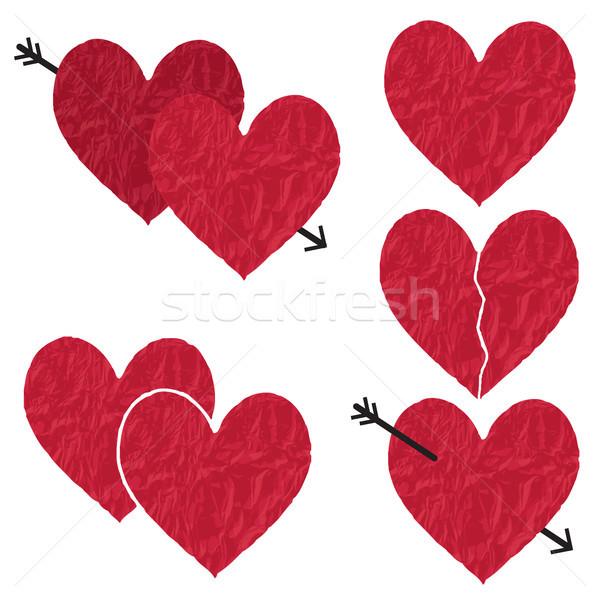 Kırmızı vektör kâğıt kalpler doku tutku Stok fotoğraf © sanjanovakovic