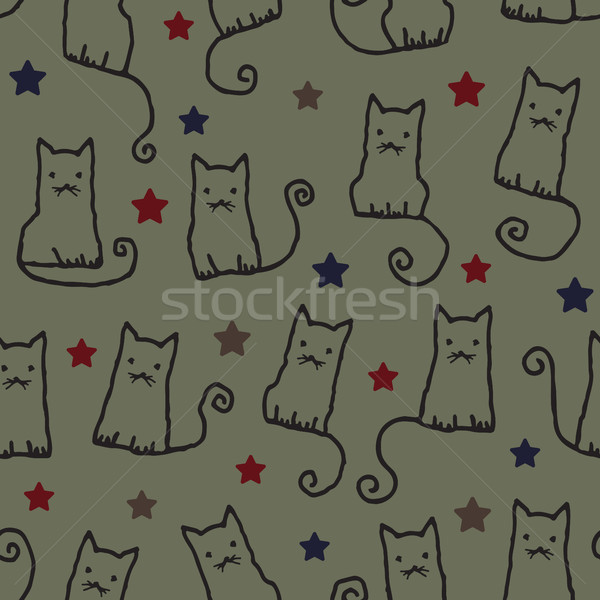 Stock photo: Hand drawn vector seamless pattern background with cats 1