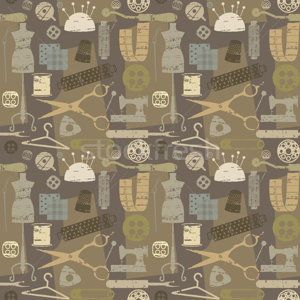 Retro seamless pattern background with sewing and tailoring elements Stock photo © sanjanovakovic