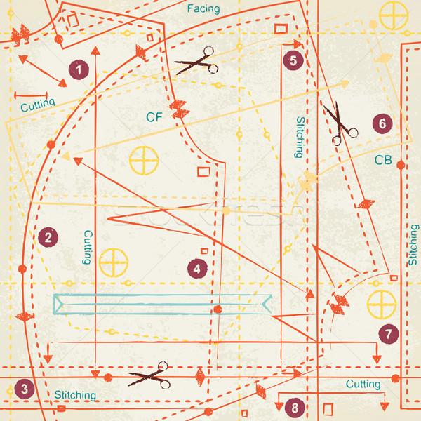 Bağbozumu dikiş model vektör Eski kağıt moda Stok fotoğraf © sanjanovakovic