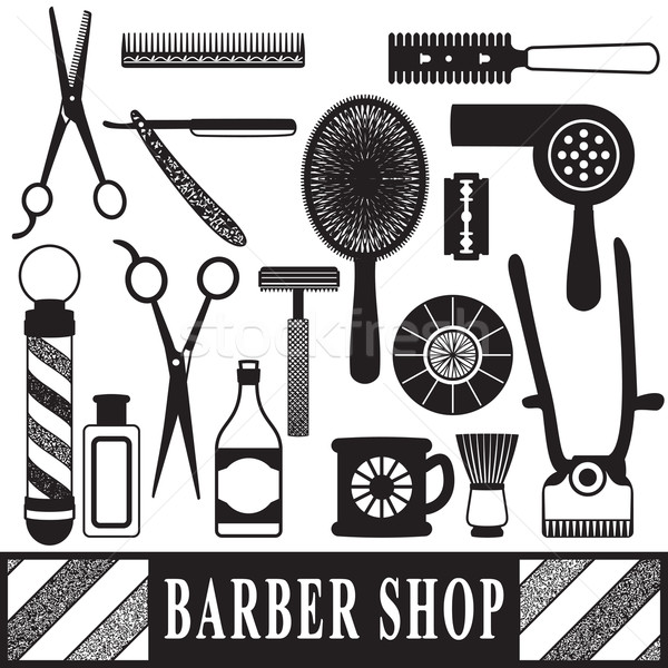 Vintage barber and hairdresser related silhouette set Stock photo © sanjanovakovic