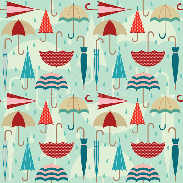 Colorful vector seamless pattern with umbrellas and raindrops Stock photo © sanjanovakovic