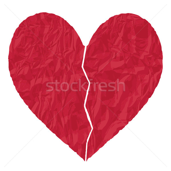 Red crumpled paper broken heart vector illustration Stock photo © sanjanovakovic