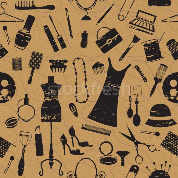 Seamless pattern with scratched beauty and fashion symbols on paper textured background   Stock photo © sanjanovakovic