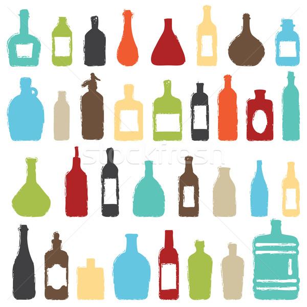 Renkli şişe simgeler vektör şişeler Stok fotoğraf © sanjanovakovic