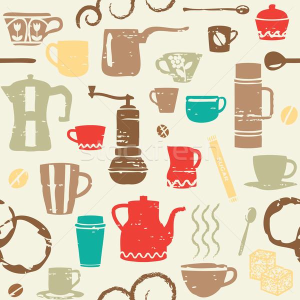 Kahve elemanları arka plan restoran duvar kağıdı Stok fotoğraf © sanjanovakovic
