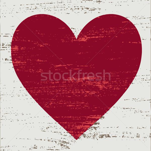 Vintage red heart on white scratched background   Stock photo © sanjanovakovic
