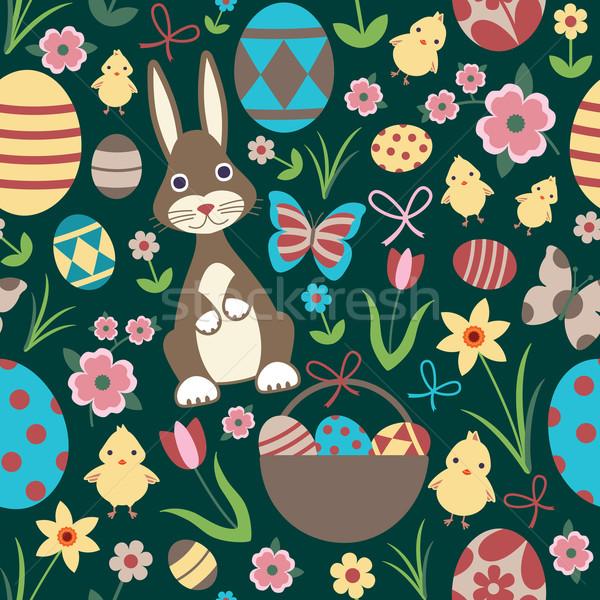 Paskalya vektör tavşan arka plan lâle Stok fotoğraf © sanjanovakovic